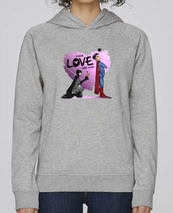 Hoodie Raglan sleeve welt pocket MAKE LOVE NOT WAR (BATMAN VS SUPERMAN) by teeshirt-design.com