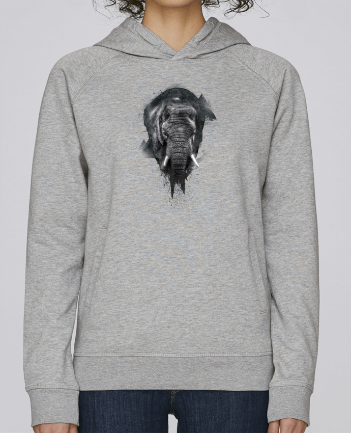 Hoodie Raglan sleeve welt pocket elephant footprint by WZKdesign