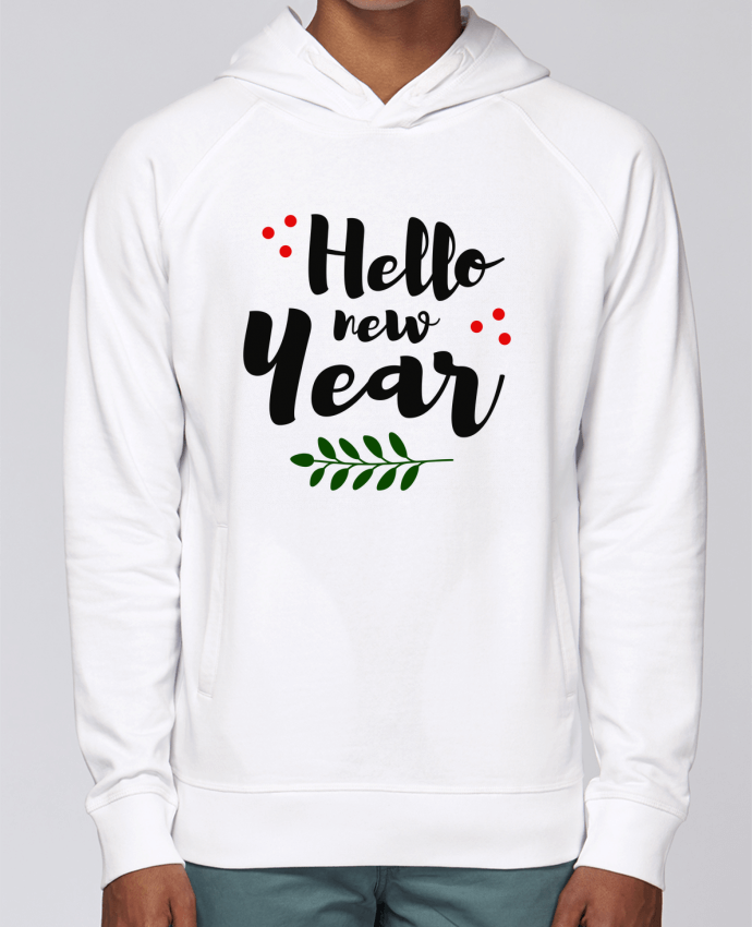 Hoodie Raglan sleeve welt pocket Hello New Year by tunetoo