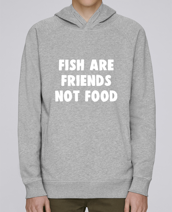 Hoodie Raglan sleeve welt pocket Fish are firends not food by Bichette
