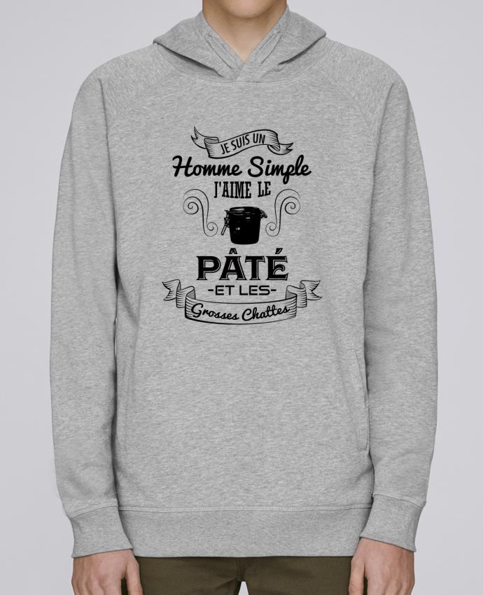 Hoodie Raglan sleeve welt pocket Je suis un homme simple, j'aime le pâté et les grosses chates by tunetoo