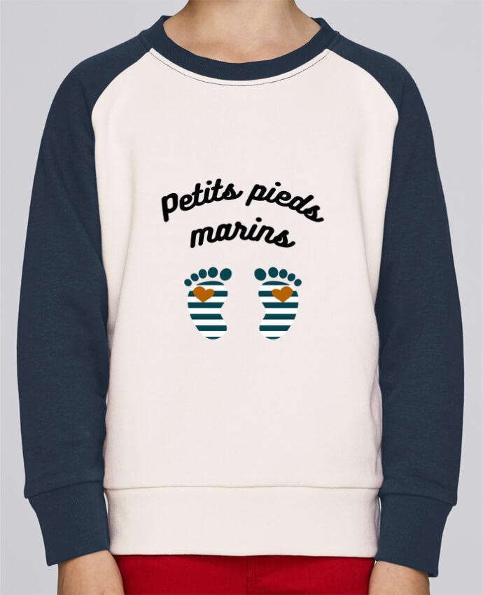 Sweatshirt Kids Round Neck Stanley Mini Contrast Petits pieds marins by Le petit monde de Kélyan