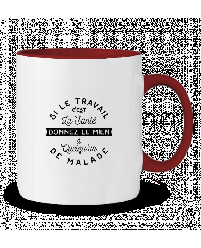 Two-tone Ceramic Mug Le travail c'est la santé cadeau Original t-shirt