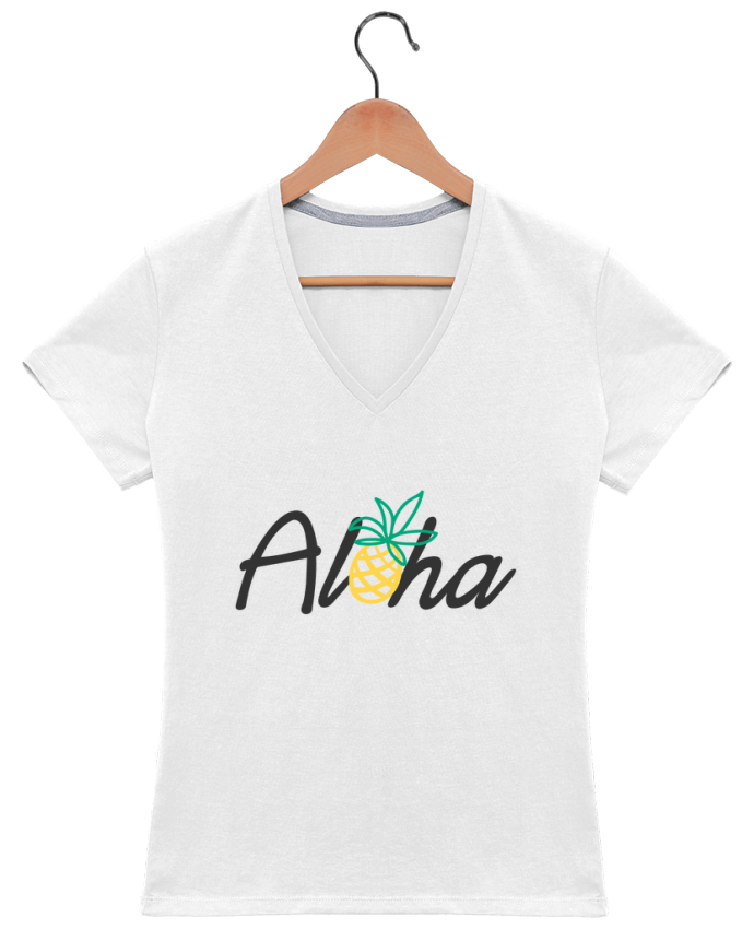 T-Shirt V-Neck Women Aloha by tunetoo