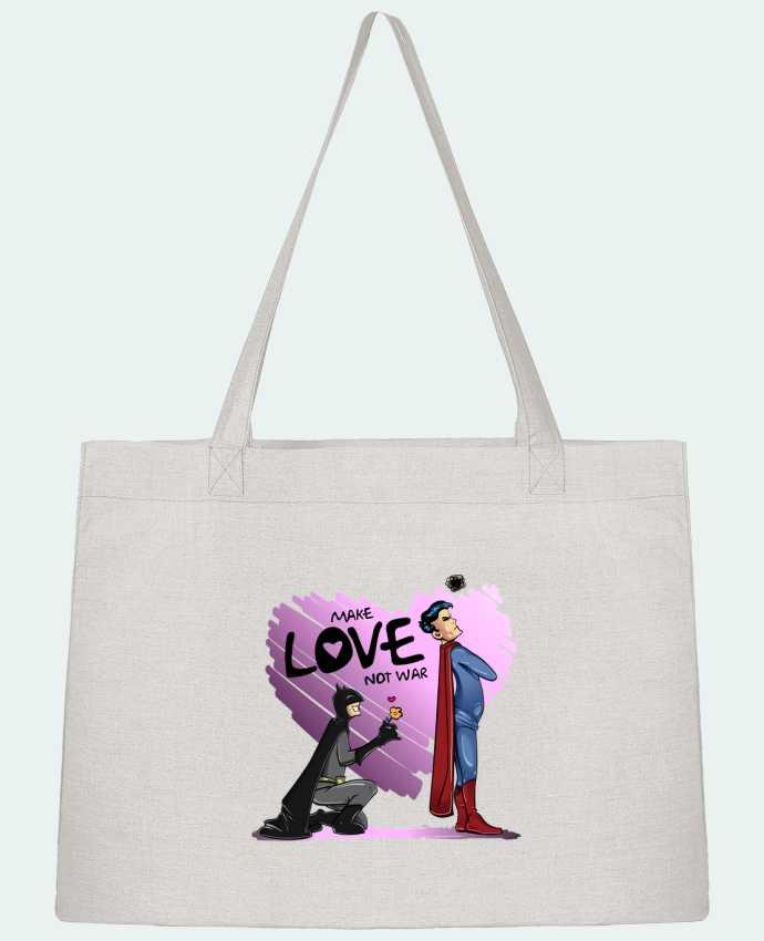 Shopping tote bag Stanley Stella MAKE LOVE NOT WAR (BATMAN VS SUPERMAN) by teeshirt-design.com