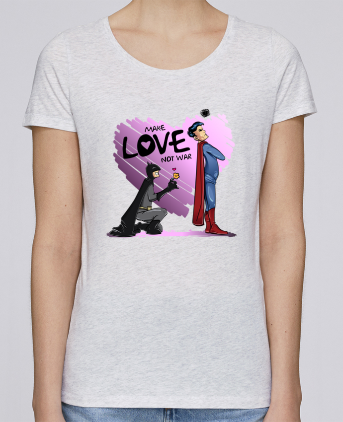 T-shirt Women Stella Loves MAKE LOVE NOT WAR (BATMAN VS SUPERMAN) by teeshirt-design.com