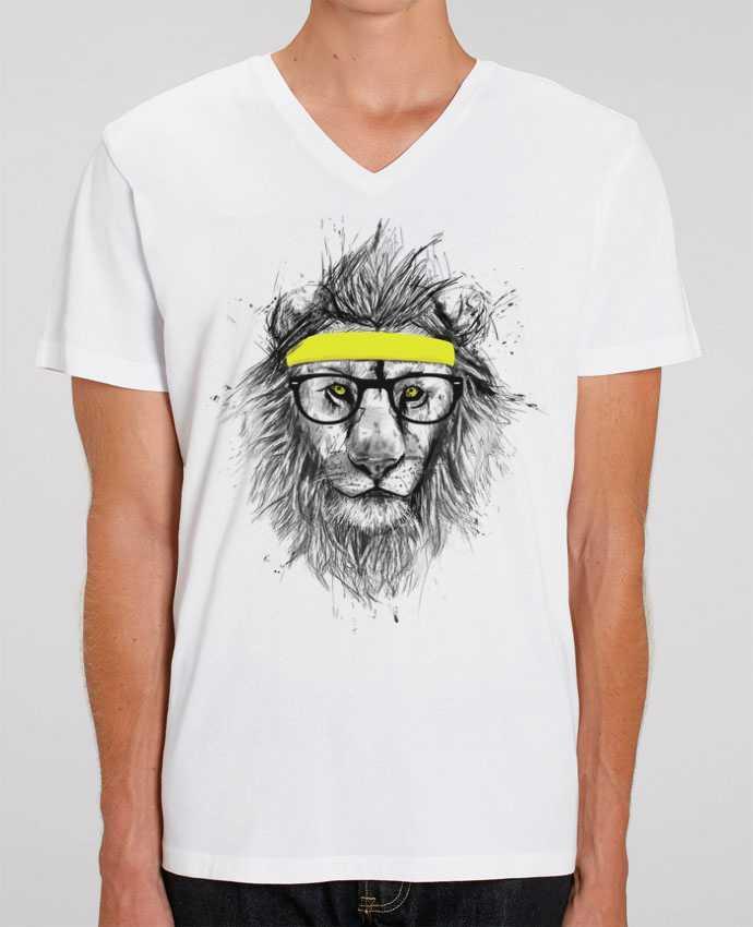 Men V-Neck T-shirt Stanley Presenter Hipster Lion by Balàzs Solti