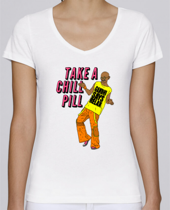 T-Shirt V-Neck Women Stella Chooses Chill Pill by Nick cocozza