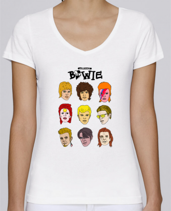 T-Shirt V-Neck Women Stella Chooses Bowie by Nick cocozza