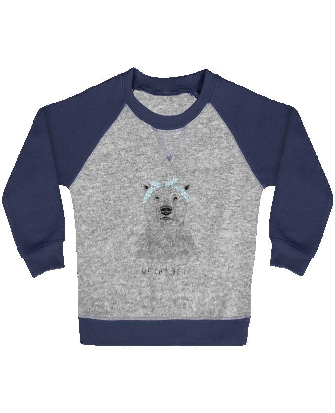 Sweatshirt Baby crew-neck sleeves contrast raglan we_can_do_it by Balàzs Solti