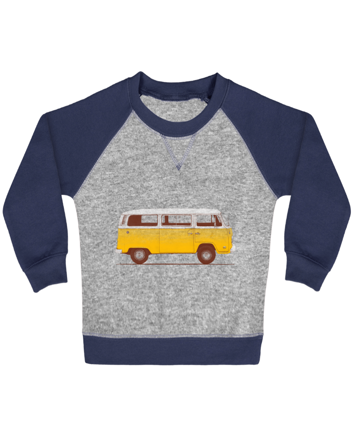 Sweatshirt Baby crew-neck sleeves contrast raglan Yellow Van by Florent Bodart