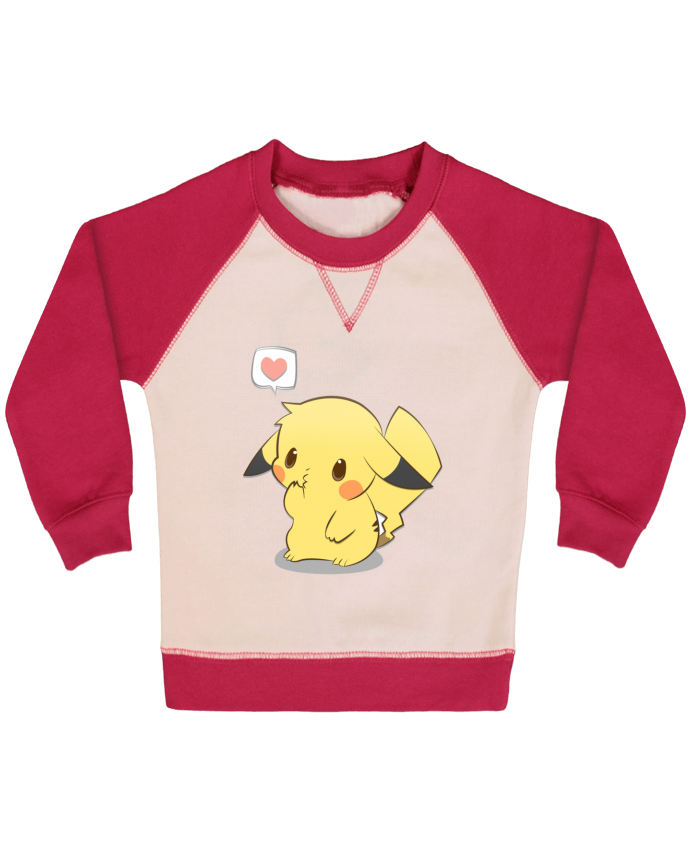 Sweatshirt Baby crew-neck sleeves contrast raglan Pikachu Love by Ketsøu
